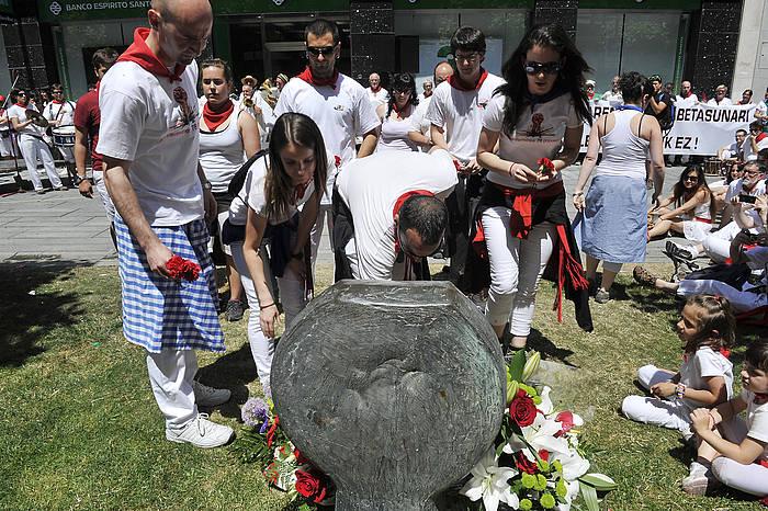 German Rodriguezen omenezko ekitaldia, Iruñeko sanferminetan. Artxiboko irudia. / ©Idoia Zabaleta, Foku
