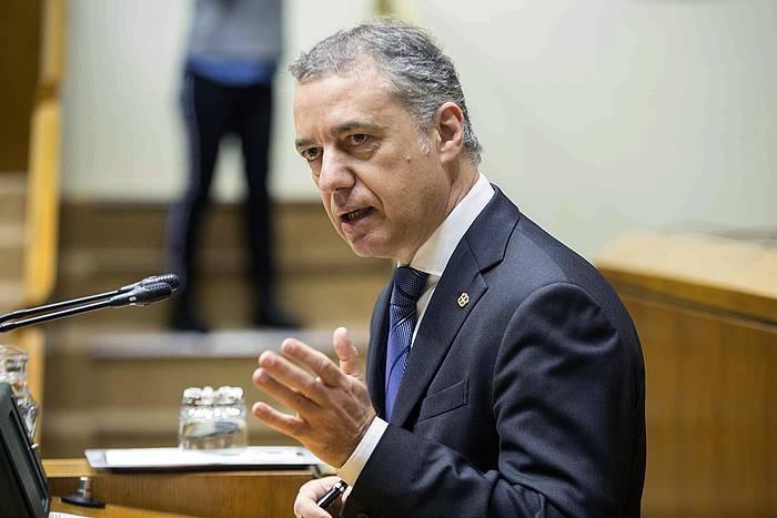 Iñigo Urkullu Eusko Jaurlaritzako lehendakaria, Eusko Legebitzarreko saio batean. / ©David Agular, EFE