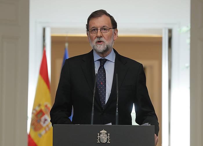 Marino Rajoy Espainiako presidentea, joan den maiatzaren 4an egin zuen agerraldian. / ©Angel Diaz, EFE
