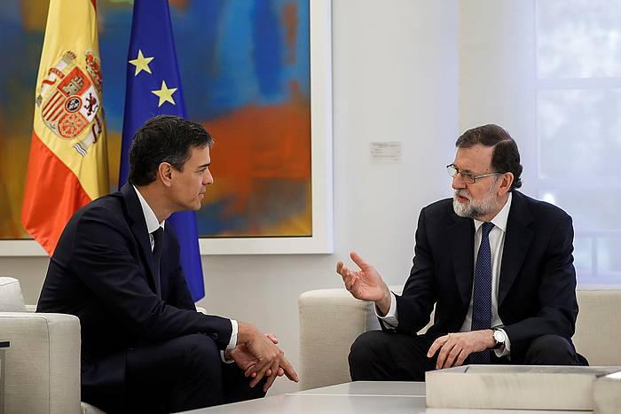 Sanchez eta Rajoy, aste honetan egin duten bileran.