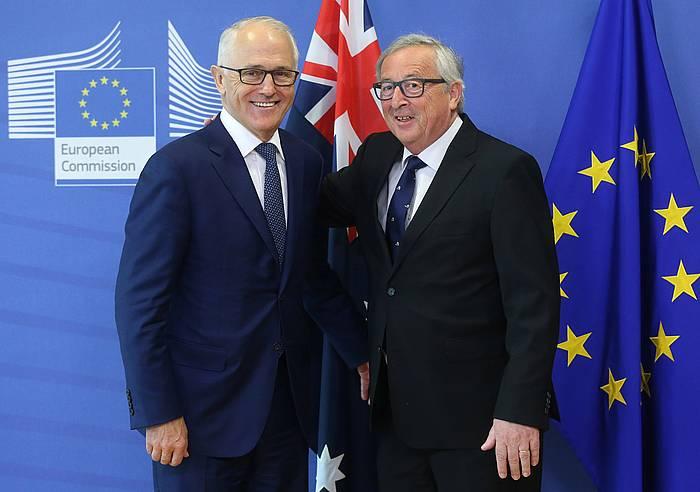 Malcolm Turnbull Australiako lehen ministroa eta Jean Claude Juncker Europako Batzordeko presidentea, joan den apirilean egin zuten bilera aurreko agerraldian. / ©Francois Walschaerts, EFE
