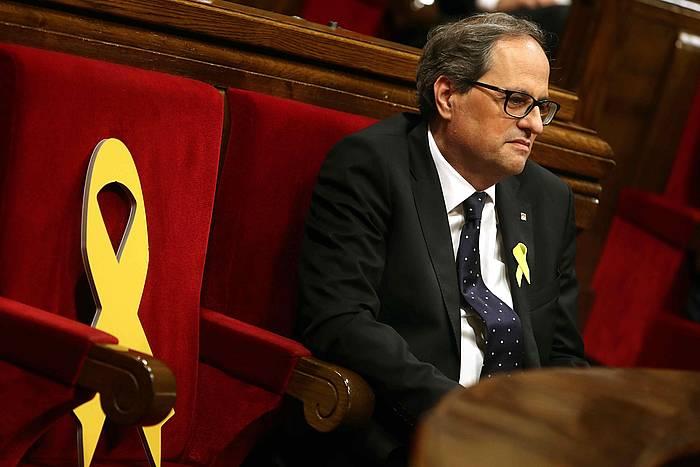 Quim Torra Kataluniako presidentea, gaur, Kataluniako Parlamentuan. /