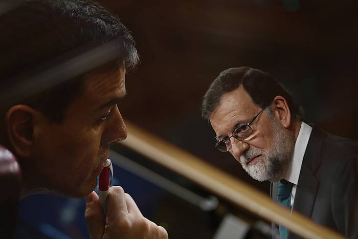 Pedro Sanchez eta Mariano Rajoy, Kongresuan. /