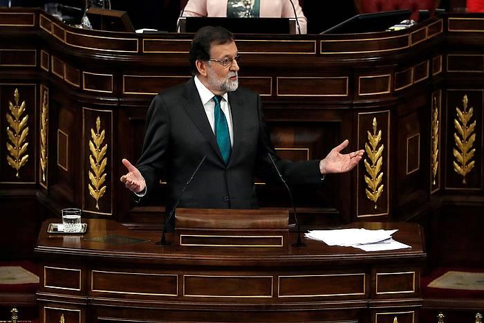 Mariano Rajoy Espainiako presidentea, haren aurkako zentsura mozioaren eztabaidan, gaur, Espainiako Kongresuan. /