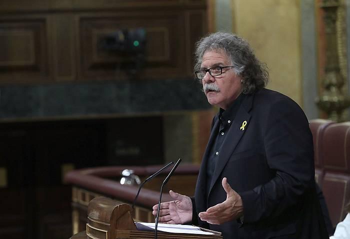Joan Tarda ERCren Kongresuko bozeramailea, gaur, PSOEren zentsura mozioaren eztabaidan. /