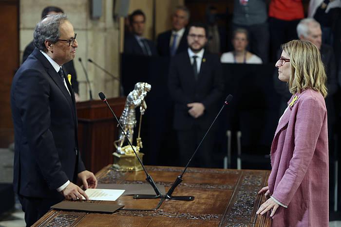 Quim Torra Kataluniako Gobernuko presidentea eta Elsa Artadi Presidentetza kontseilaria, gaur, Kataluniako Gobernuaren eratze ekitaldian. /