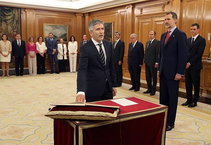 Grande-Marlaska Auzitegi Nazionaleko epaile ohia, Espainiako Barne ministro kargua bere gain hartzen, gaur goizean. / ©