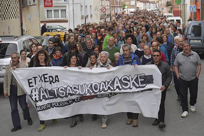 Altsasuko auzian zigortutako gurasoek antolatutako manifestazioa, joan den asteartean, Altsasun (Nafarroa). / ©Idoia Zabaleta, Foku
