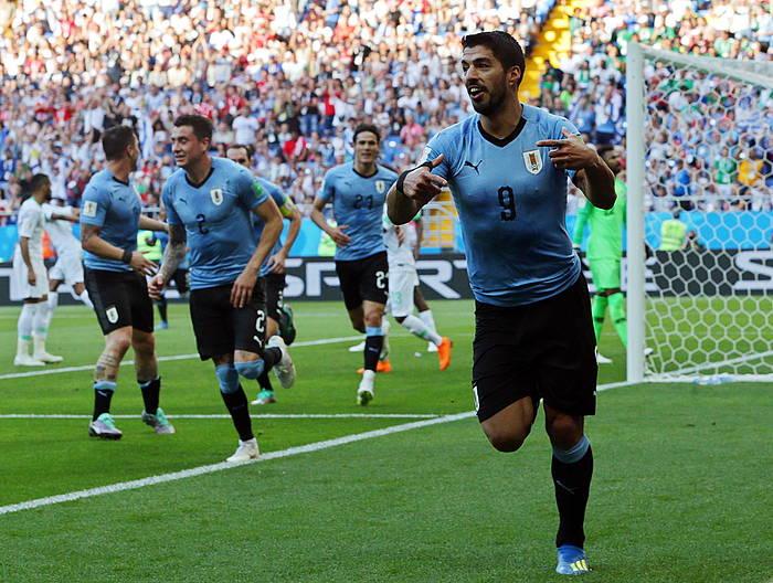 Luis Suarez aurrelari uruguaiarra, Saudi Arabiaren kontrako partidan egin duen gola ospatzen. /