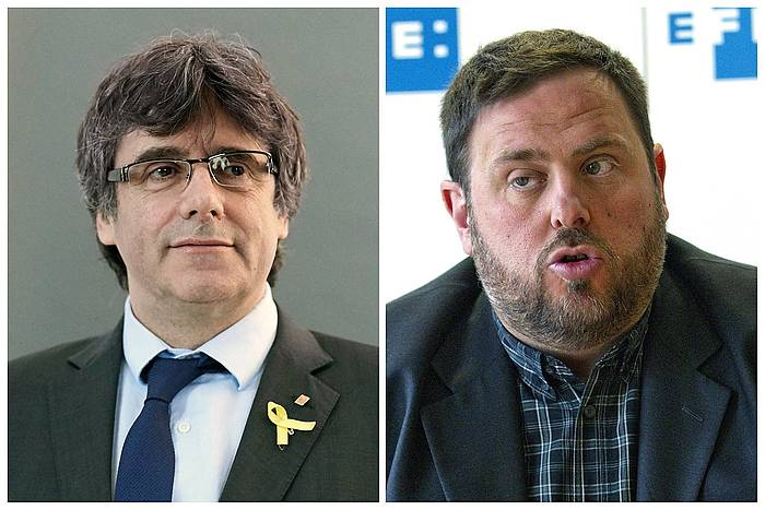 Carles Puigdemont Kataluniako presidente ohia (ezkerrean) eta Oriol Junqueras presidenteorde ohia (eskuinean), artxiboko irudietan. /