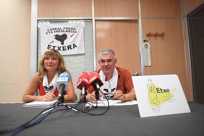Patricia Velez eta Urtzi Errazkin, gaurko agerraldian. ©Jon Urbe / Foku