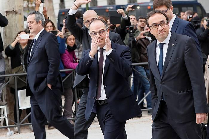 Joaquim Forn, Jordi Turull eta Josep Rull, Auzitegi Nazionalera bidean, iazko azaroaren 2an. /