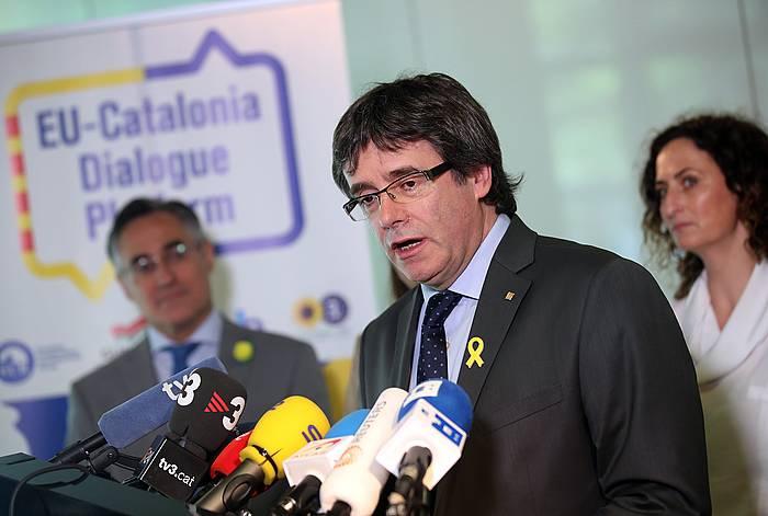 Carles Puigdemont Kataluniako presidente ohia, Berlinen, hedabideen aurreko agerraldi batean. Artxiboko irudia. /