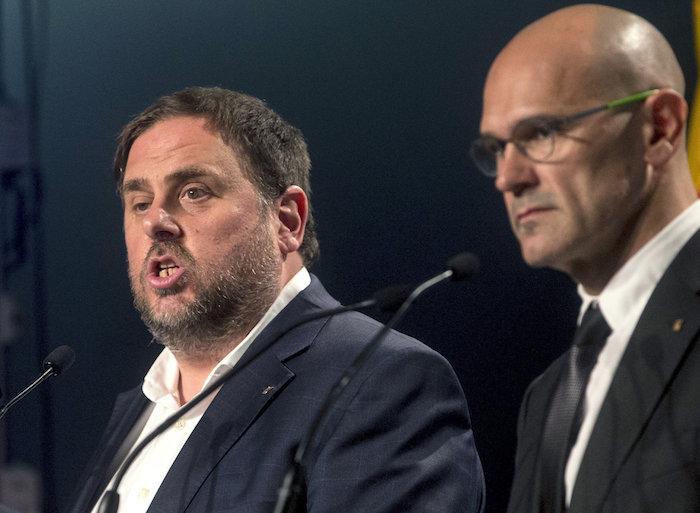 Oriol Junqueras eta Raul Romeva prentsaurreko batean./ ©