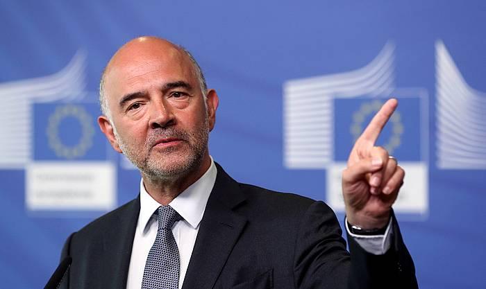 Pierre Moscovici Europako Batzordeko Ekonomia komisarioa, gaur, Greziari buruz egin duen agerraldian.