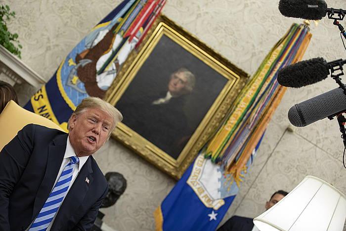 Donald Trump, atzo, Etxe Zurian. /