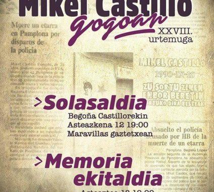 Mikel Castilloren omenaldia iragartzeko afixa.
