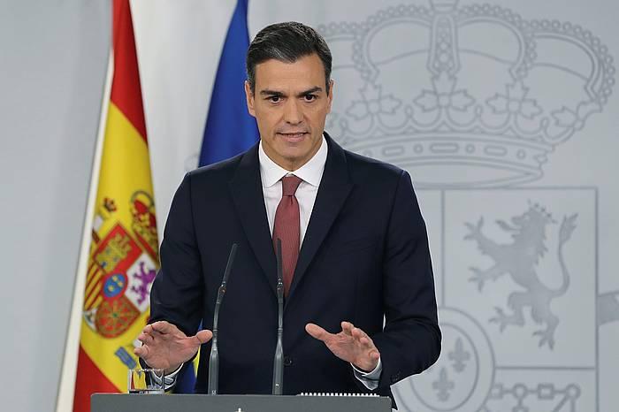 Pedro Sanchez Espainiako presidentearen agerraldia, gaur eguerdian, Moncloa. ©BALLESTEROS / EFE