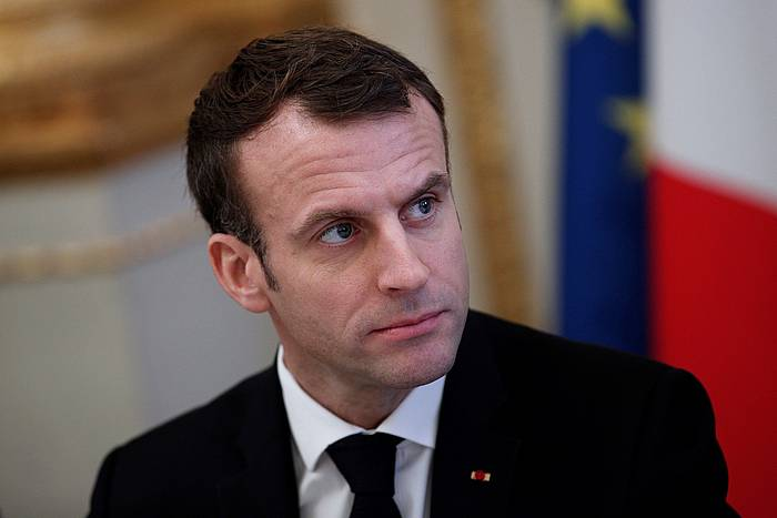 Macron Frantziako presidentea iragan urrian, Parisen, soldaduei egindako omenaldi batean. ©IAN LANGSDON / EFE