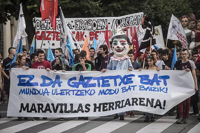 Maravillas gaztetxearen aldeko manifestazioa, abuztuan, Iruñean.