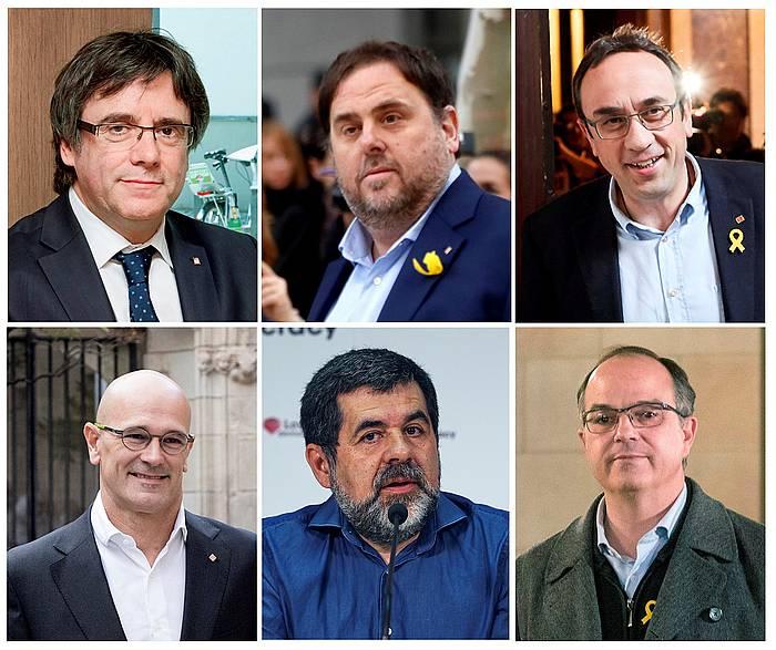 Carles Puigdemont, Oriol Junqueras, Josep Rull, Raul Romeva, Jordi Sanchez eta Jordi Turull. / ©EFE