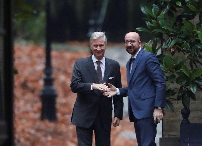 Philippe Belgkako erregeak harrera egin dio, gaur, Charles Michel Belgikako lehen ministroari. ©Olivier Hoslet, EFE