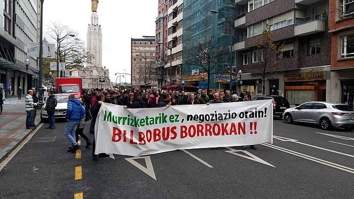 Bilbouseko langileen manifestazio bat, 2018ko azaroaren 20an, Bilbon. / ©Bruno Zubizarreta