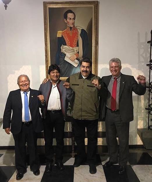 Salvador Sánchez Céren El Salvadorko presidentea; Evo Morales, Boliviakoa; Nicolas Maduro, Venezuelakoa; eta Miguel Díaz-Canel, Kubakoa.