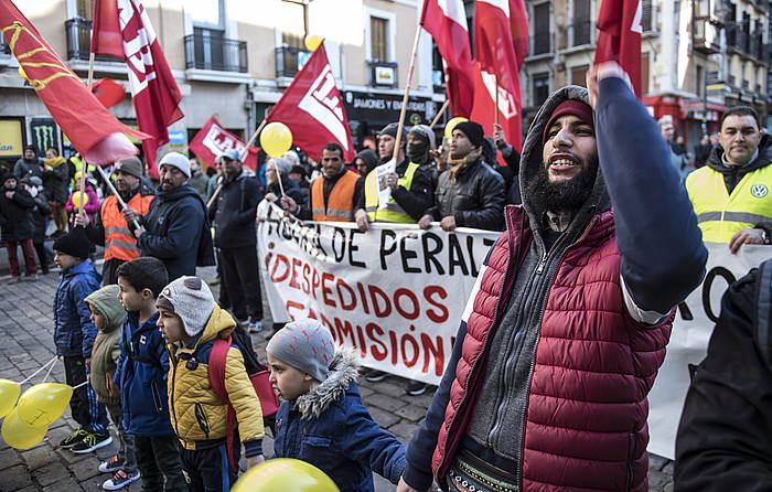 Huerta de Peraltako grebalarien manifestazioa, Iruñean, aurreko astean. ©JAGOBA MNTEROLA / FOKU