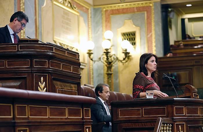 Adriana Lastra PSOEren bozeramailea, gaur, Espainiako Kongresuan.