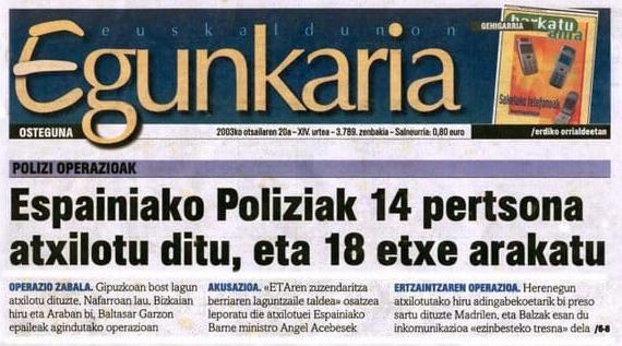 Euskaldunon Egunkaria-ren azken zenbakiaren azaleko titular nagusia. /