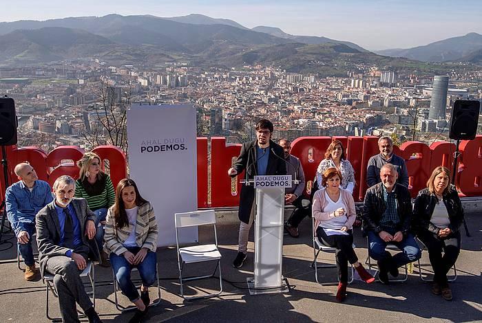 Espainiako hauteskundeetarko Araba, Bizkai eta Gipuzkoako zerrendaburuak aurkezteko Ahal Dugu-ren agerraldia,gaur, Bilbon. ©Javier Zorrilla, EFE