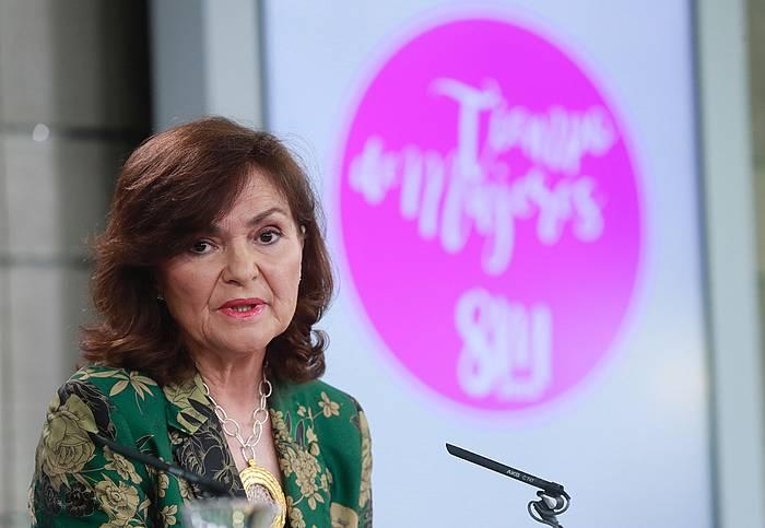 Carmen Calvo Espainiako presidenteordea, gaur, ministroen kontseiluaren ondorengo prentsaurrekoan. ©Angel Diaz, EFE