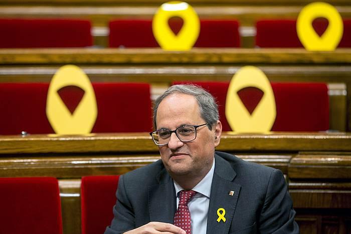 Torra presidentea Kataluniako parlamentuan, gaurko saioa hasi baino lehen.