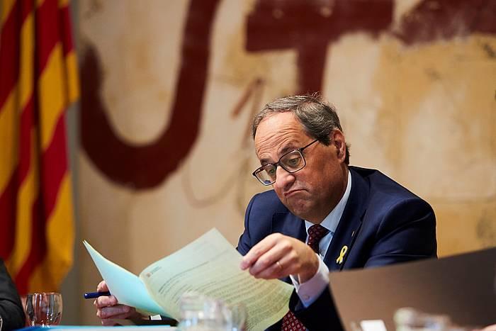 Quim Torra Kataluniako presidentea, gaur, gobernuaren ohiko bilkuran. ©Alejandro Garcia, EFE