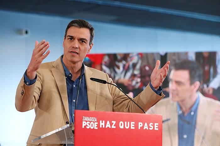 Pedro Sanchez PSOEren presidentegaia, igandeko ekitaldi batean. ©JAVIER BELVER, EFE.