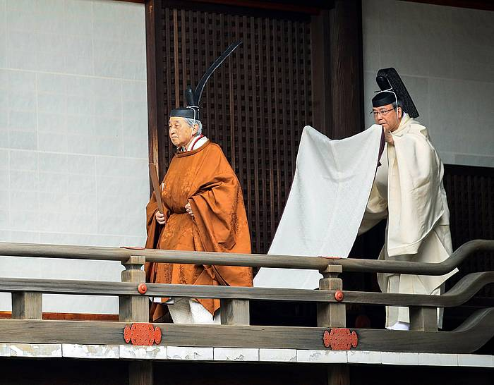 Akihito enperadorea, ekitaldian. /