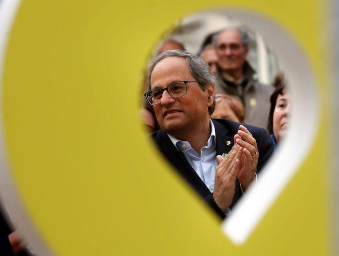 Quim Torra Kataluniako presidentea, JxCren hauteskunde ekitaldi batean, joan den apirilean. ©Toni Albir, EFE