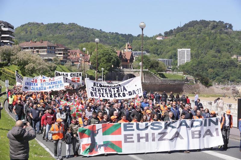 Donostian ehizaren alde egindako manifestazioa. ©Gipuzkoako Ehiza Federazioa.