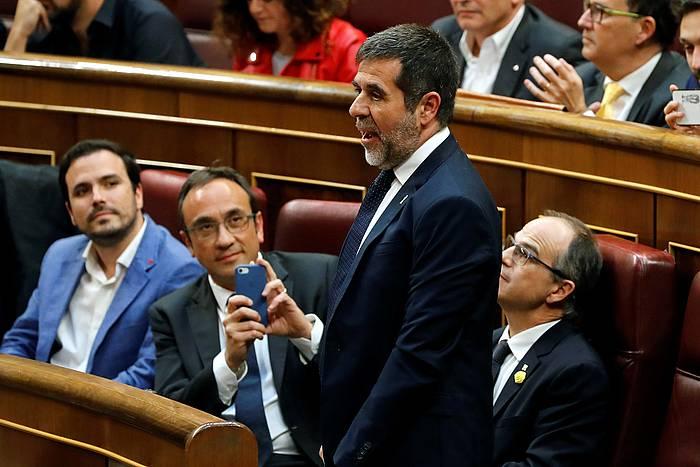 Jordi Sanchez JxCko parlamentari presoa, Espainiako Kongresuan, diputatu kargua hartzeko saioan, maiatzaren 21ean. ©Ballesteros, EFE