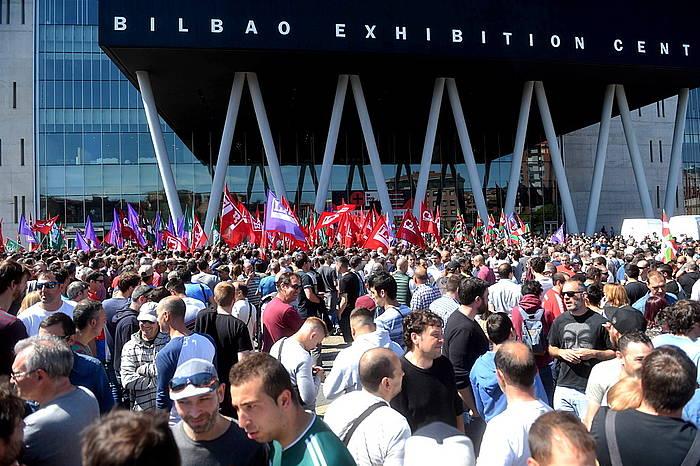 Manifestariak, BEC parean, Barakaldon. /