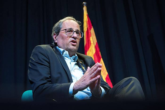 Quim Torra Kataluniako presidentea, liburu baten aurkezpen ekitaldian. ©Marta Perez / EFE