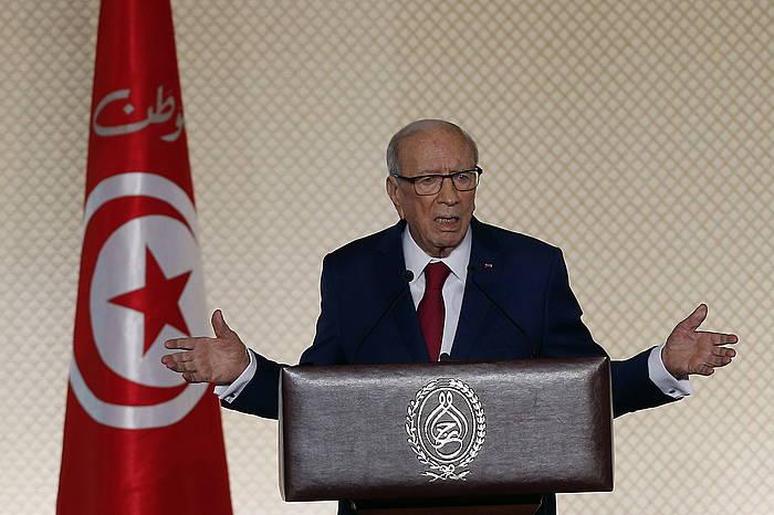 Beji Caid Essebsi, Tunisen, 2017ko maiatzeko agerraldi batean.
