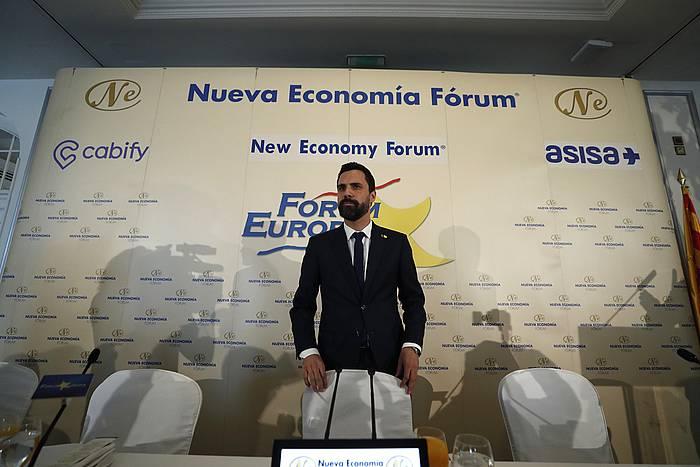Rger Torrent Kataluniako Parlamentuko presidentea, gaur, Forum Europak Bartzelonan antolatu duen hitzaldian.