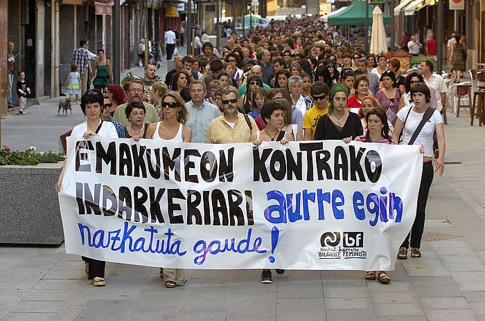 Indarkeria matxistaren kontrako manifestazio bat, Gernika-Lumon, artxiboko irudi batean. ©Monika del Valle, Foku