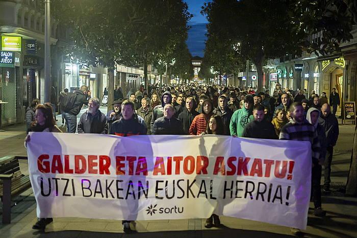 Bi gazteen aldeko protesta bat, artxiboko argazki batean. / ©Jaizki Fontaneda, Foku