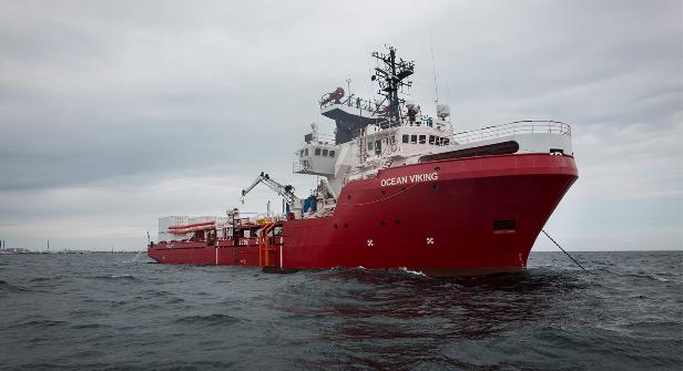 'Ocean Viking' ontzia, Libiara bidean. / ©SOS Mediterraneoa