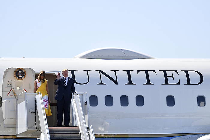 Donald Trump, gaur, Miarritzeko aireportuan. ©JULIEN DE ROSA / EFe