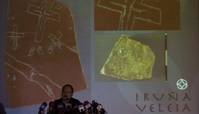Elieo Gilen agerraldia Iruña Veleiako aurkikuntzen benetakotasuna defendatzeko, 2008an