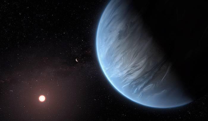 K2-18b planeta eta bere sistemako izar nano gorria eta beste planeta bat, irudikapen artistiko batean.